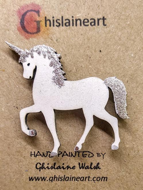 Childrens Hand Painted Unicorn Brooch