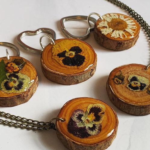 Pressed Flower Wooden Keyrings & Necklaces