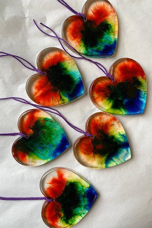 Lightcatcher rainbow handing heart