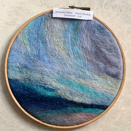 Hand-felted embroidery hoops