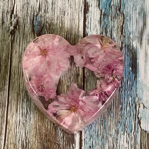 Japanese Cherry Blossom Heart Paperweight