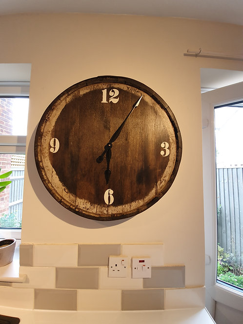 Upcycled Oak Whiskey Barrel Clocks with Metal Band