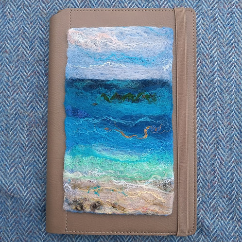 Notebooks with hand-felted seascape covers