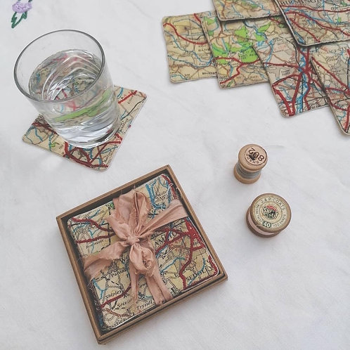 Embroidered Map Coasters
