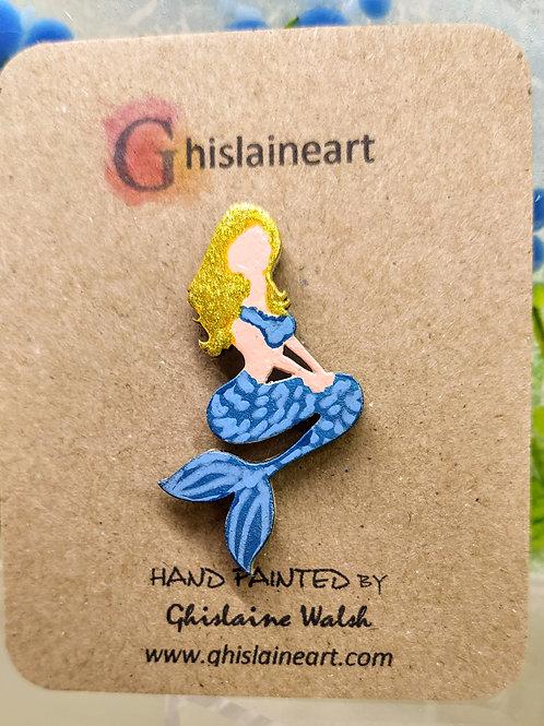 Hand Painted Mermaid Brooch