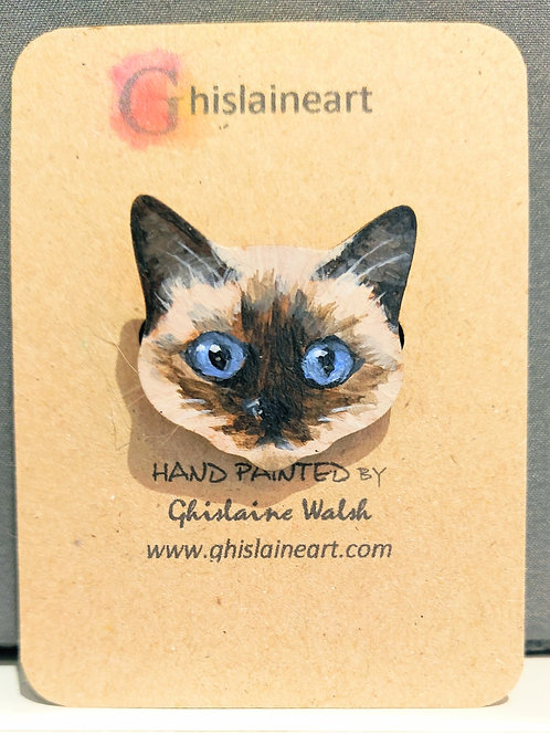 Hand Painted Cat Brooch