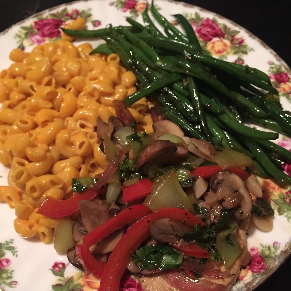 Daiya Mac n Cheese, Gardein Chickn Dinner