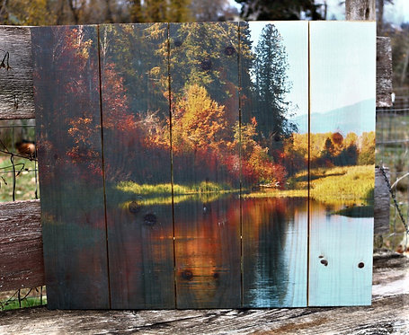 0052- Trout Lake Fall Reflection~ 5 board width, priced $25 off