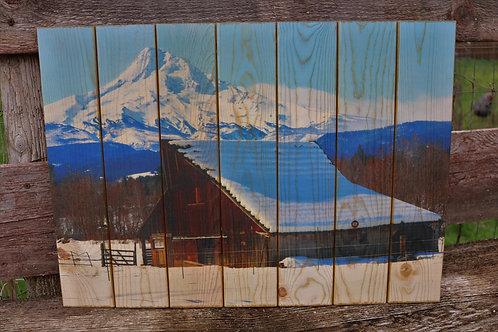 0074- Old Barn & Mt Hood in Snow