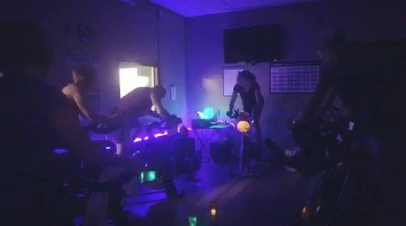 Tricia celebrating Halloween here at Option 1 with a spoooooky cycling class!