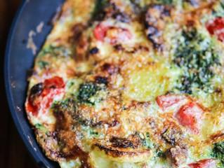 Chicken Sausage, Tomato,  Spinach and Feta Fritatta