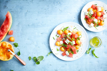 Salade pasteque, melon, feta