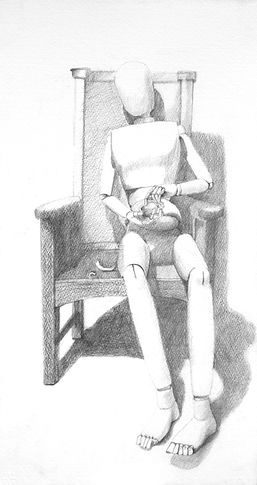 The mannequin looks at the fragments  28cm x 51cm.JPG