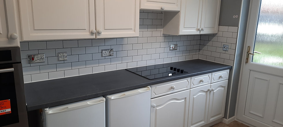 White kitchen with tiles