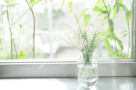 Flowers in a vase on a window sill