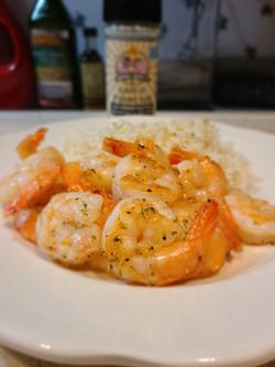 Shrimp & rice seasoned with Garlic Parmesan