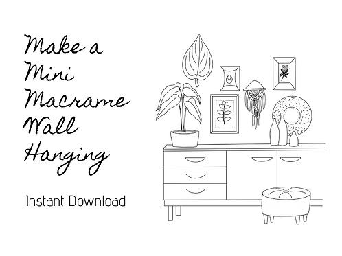 Instant Download - Mini Macrame Wall Hanging Pattern & Video
