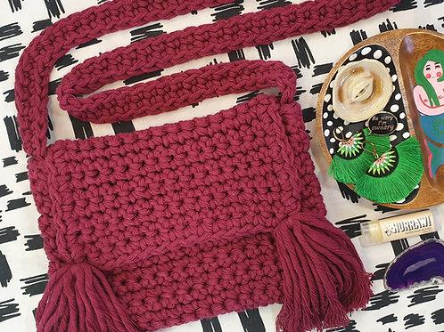 Crochet Cross Body Bag - Maroon