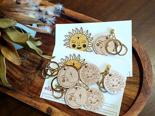 Hand-drawn Sun & Moon Key Fobs