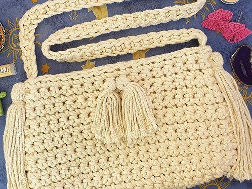 Crochet Cross Body Bag - Tassels