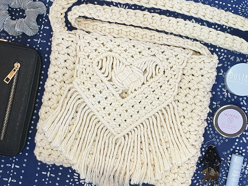 Macrame & Crochet Cross Body Bag - Heart