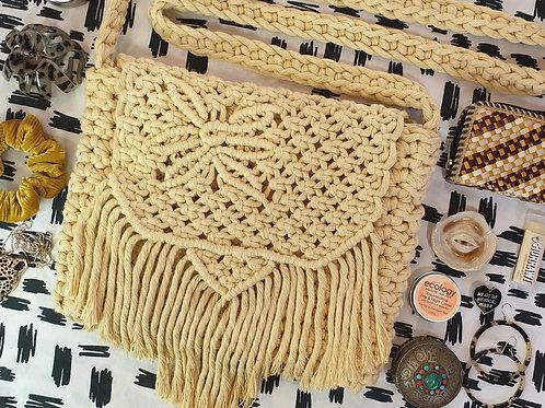 Macrame & Crochet Cross Body Bag - Pale Yellow