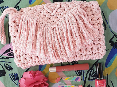 Macrame & Crochet Clutch Purse - Pastel Pink