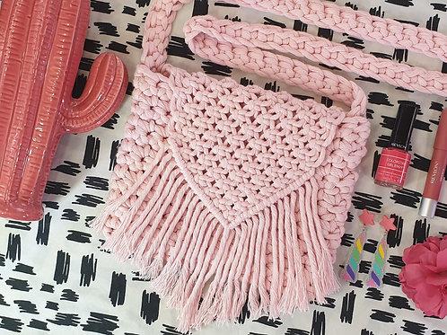 Macrame & Crochet Cross Body Bag - Pastel Pink
