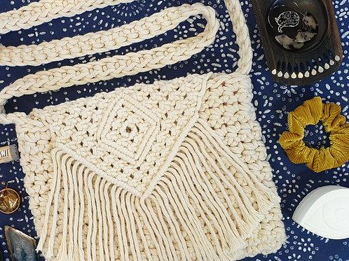 Macrame & Crochet Cross Body Bag -Diamond