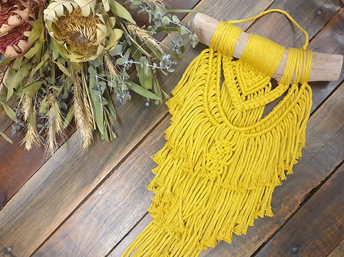 Mustard Mini Macrame Wall Hanging