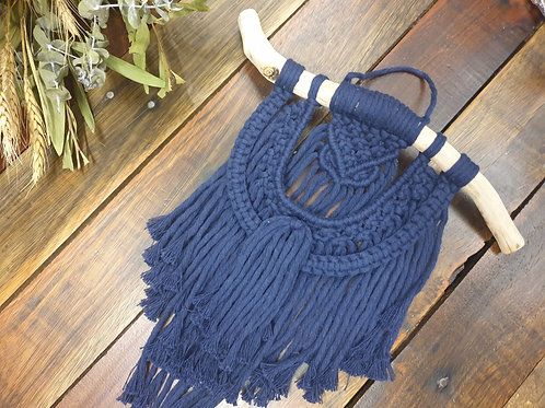 Navy Mini Macrame Wall Hanging