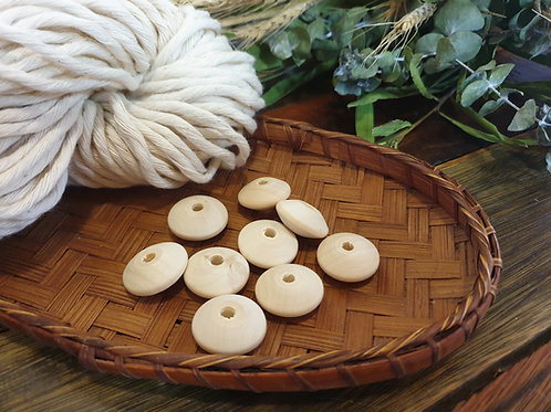 4 x Wooden Beads - Disk Shaped
