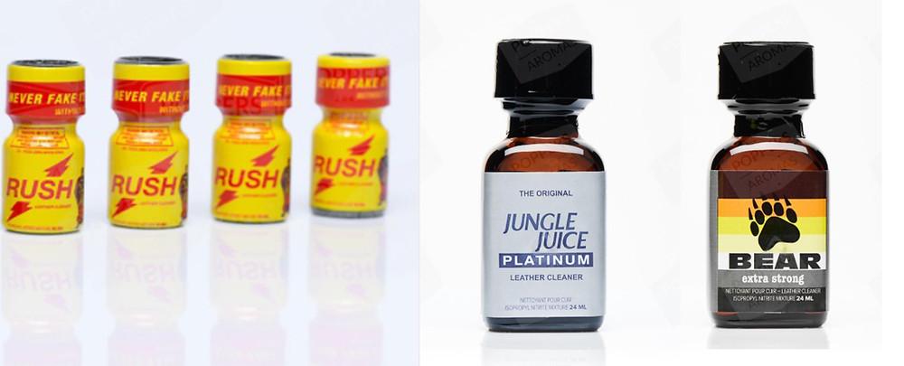 Examples of Propyl Nitrite brands, Rush, Jungle Juice Platinum and Bear Extra Strong