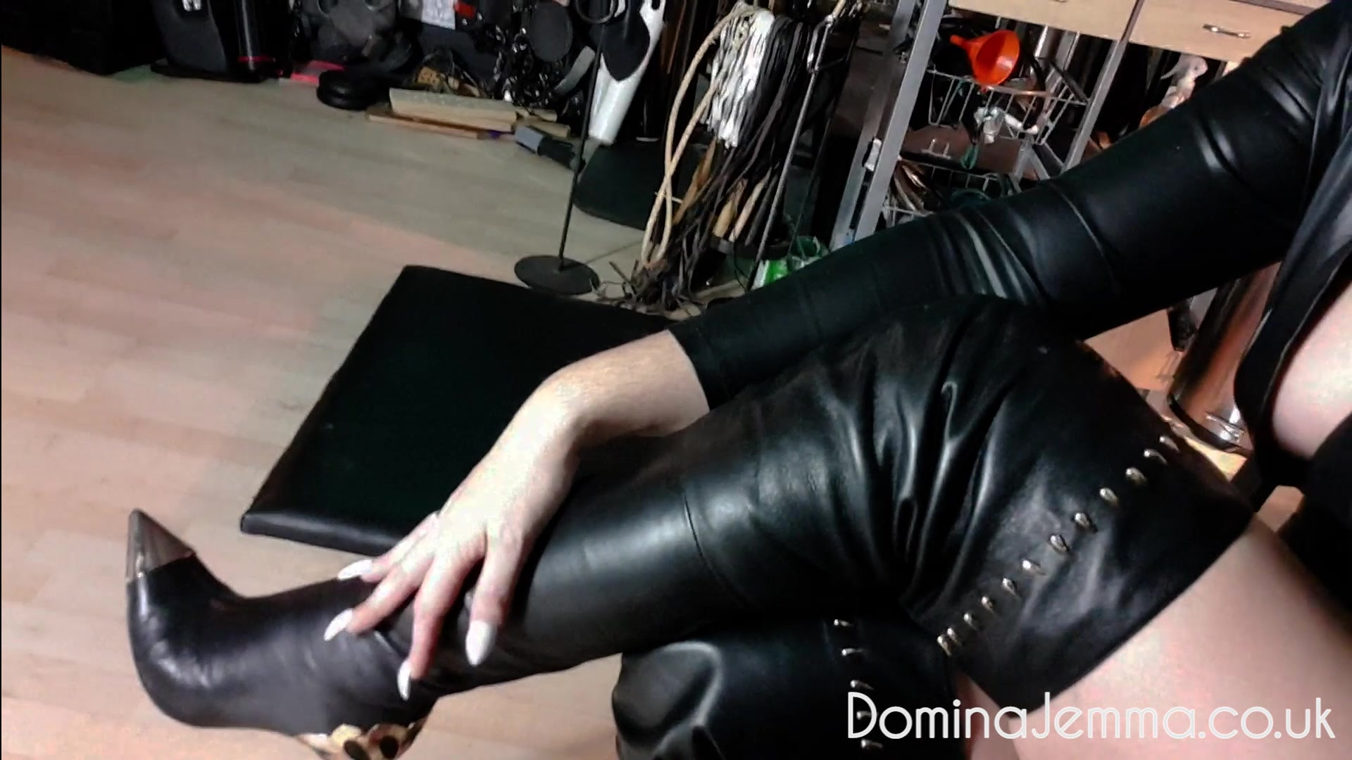 Leather Boots Tease