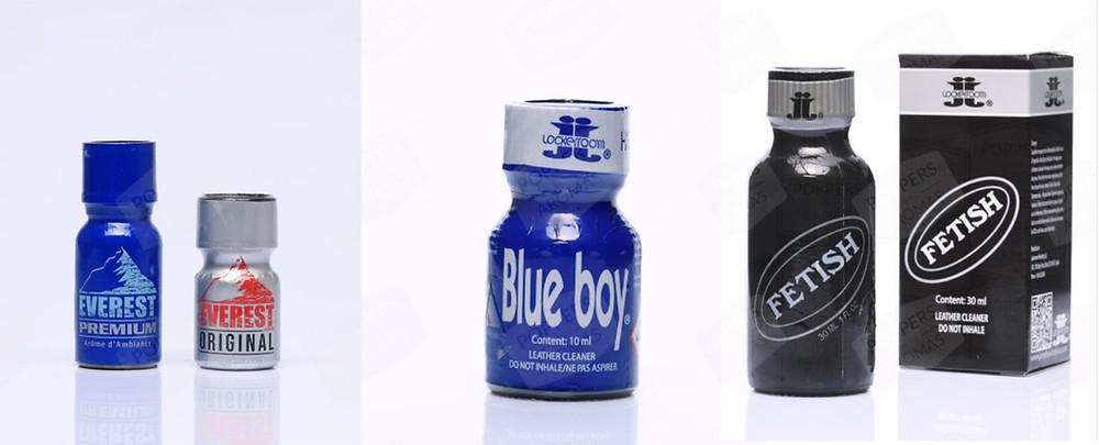 Examples of Pentyl Nitrites brands, Everest, Blue Boy, Fetish