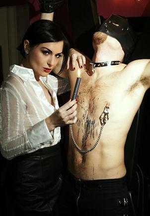 Mistress Roma, Mistress Bristol, Wax Play, Nipple Clamps, Hooded Slave