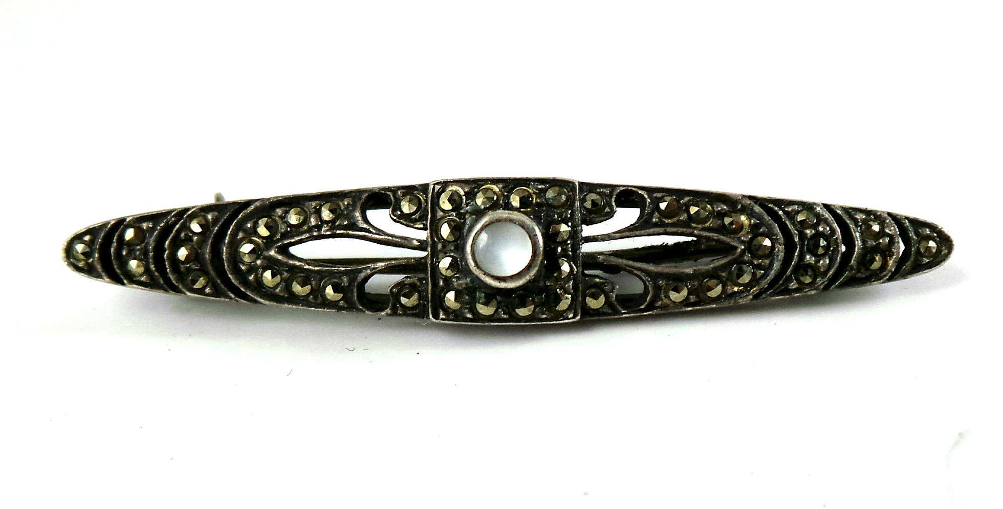 cc5075a81eef6 Vintage Sterling Silver, Moonstone, and Marcasite Bar Pin.