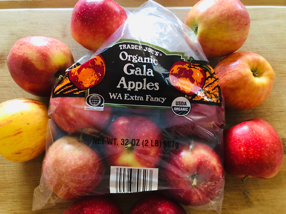 red apples organic gala extra fancy in a bag