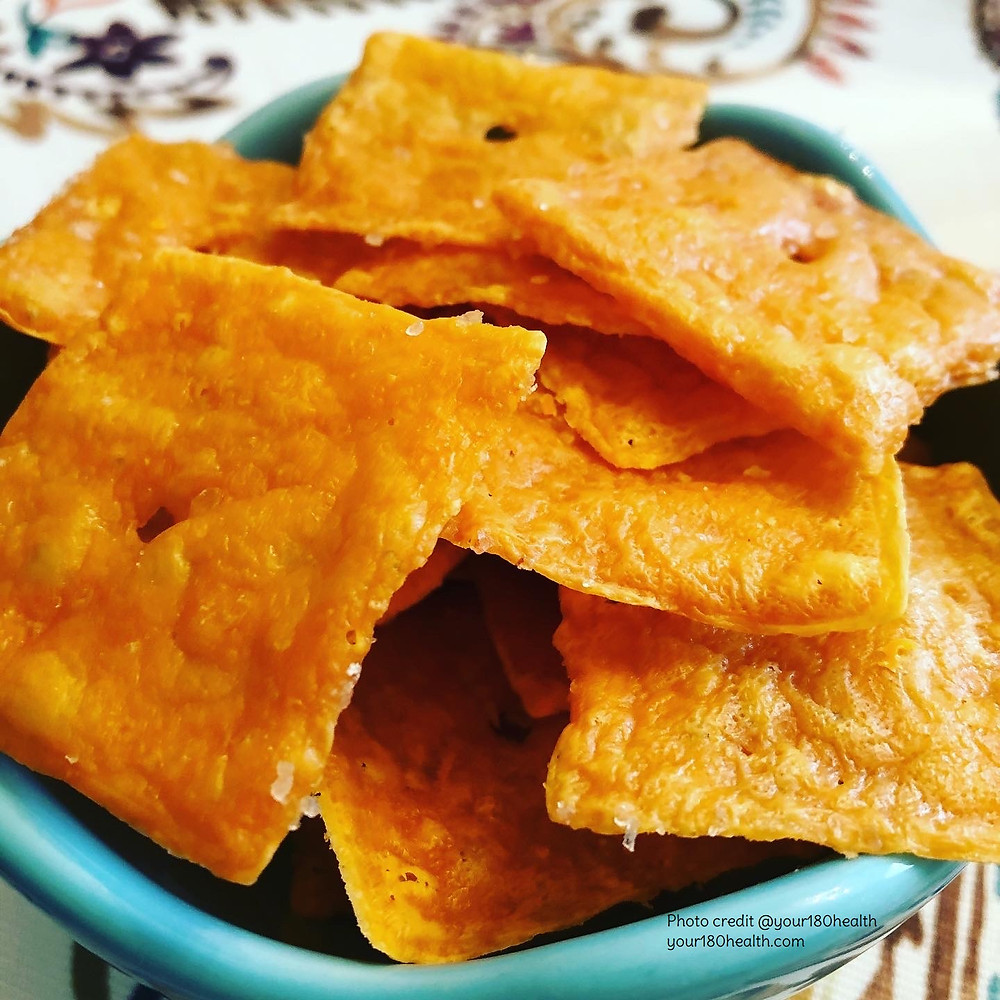 crispy cheddar cheese crackers in a bowl keto low carb