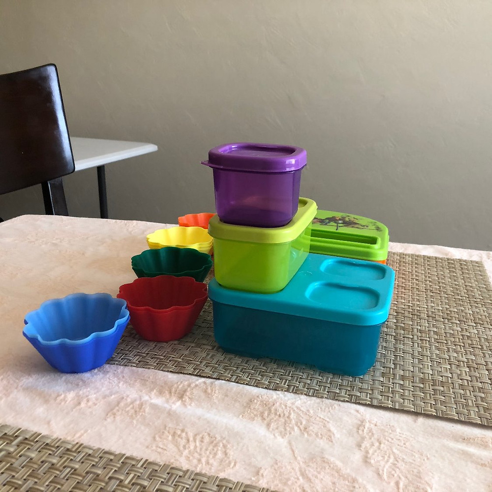 Colorful plastic lunch storage containers silicone muffin cups