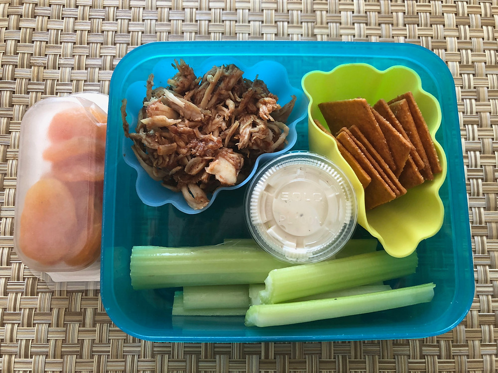 healthy nutritious kid lunch crackers celery bbq chicken apricots