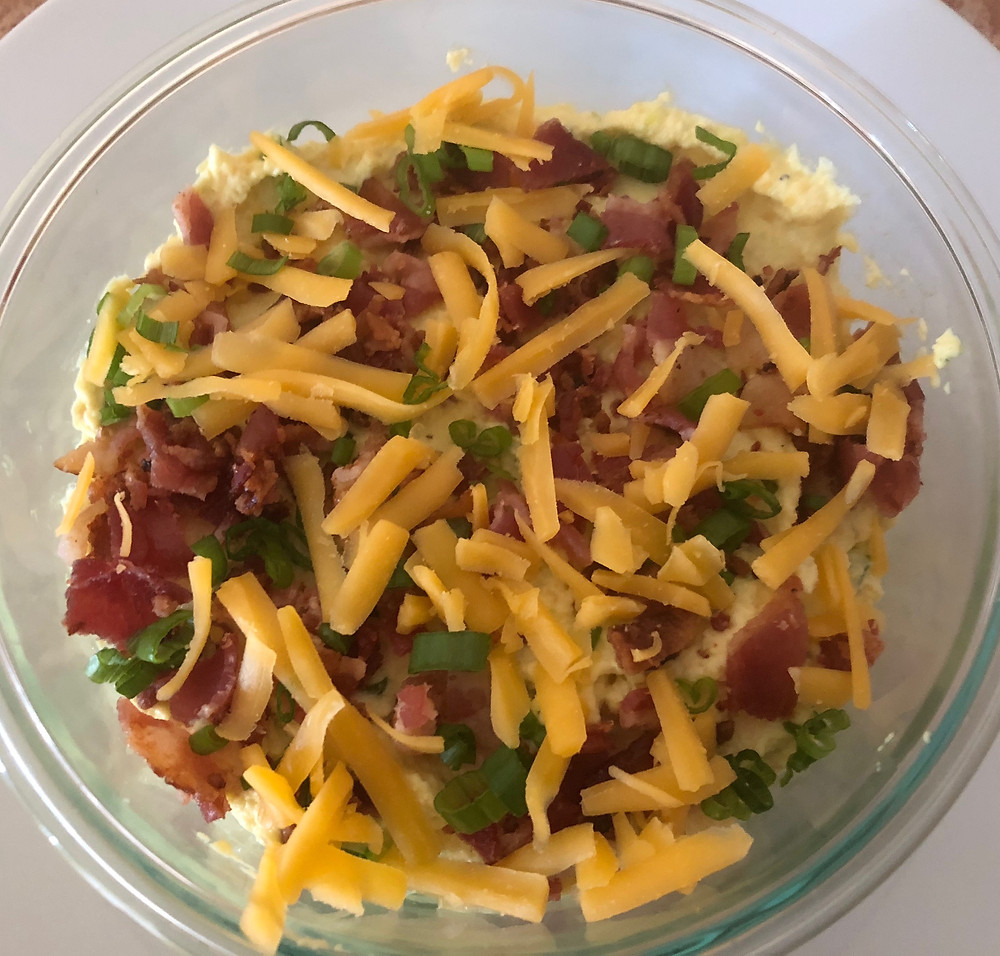 low carb keto diabetic friendly game day bacon cheddar deviled egg dip