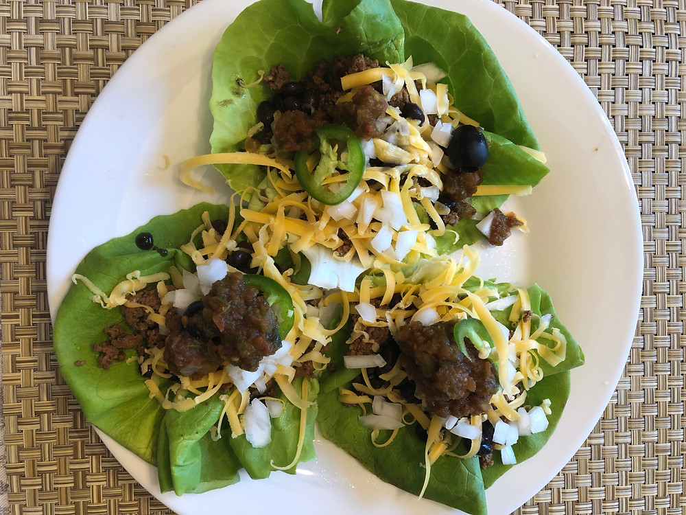 low carb keto beef lettuce taco cups with olives cheese jalapenos salsa dairy free easy dinner weeknight