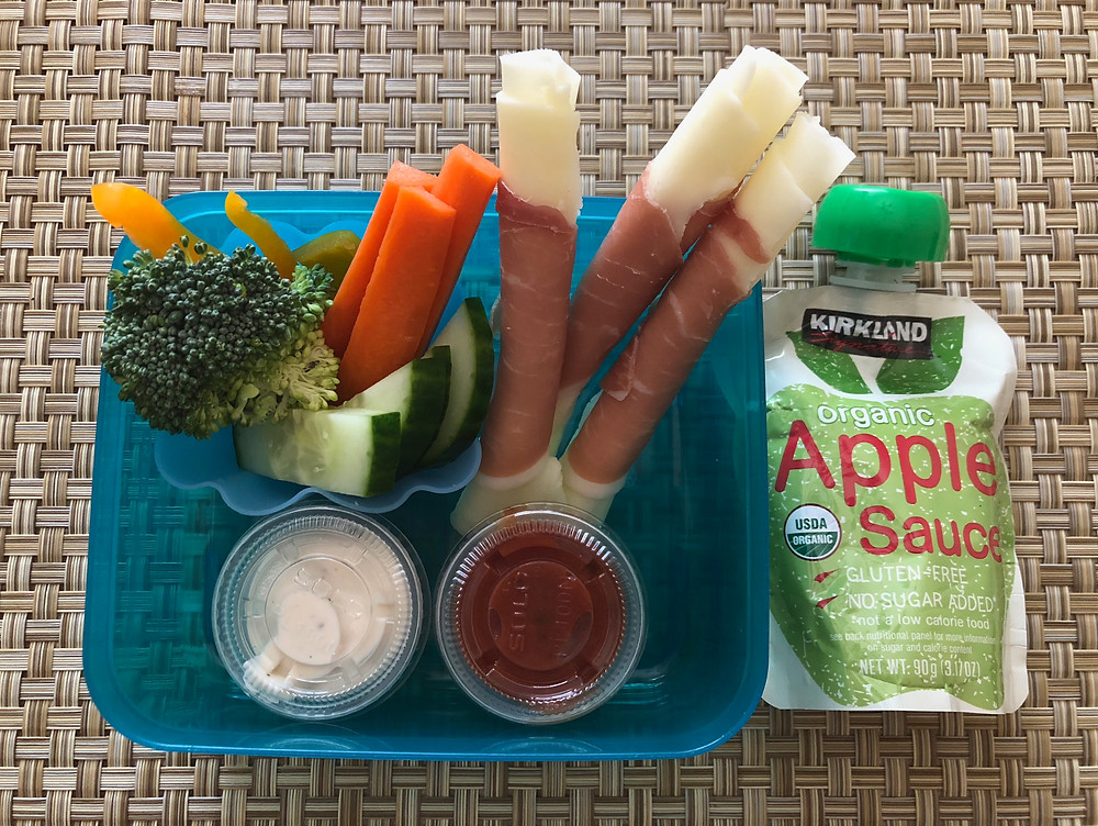 healthy low carb kid nutritious lunch meat and cheese spirella minis marinara ranch vegetables organic apple sauce