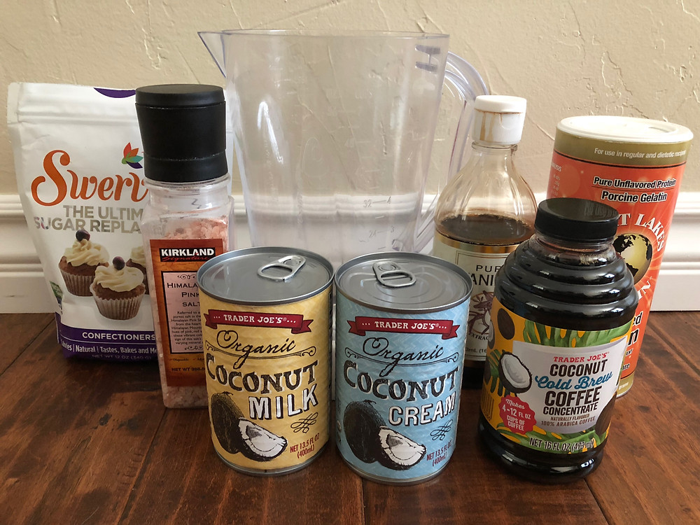 Swerve confectioners sweetener coconut milk pink salt coconut cream coconut milk, coconut cold brew coffee concentrate trader joes pure vanilla extract great lakes porcine gelatin blender keto ice cream ingredients