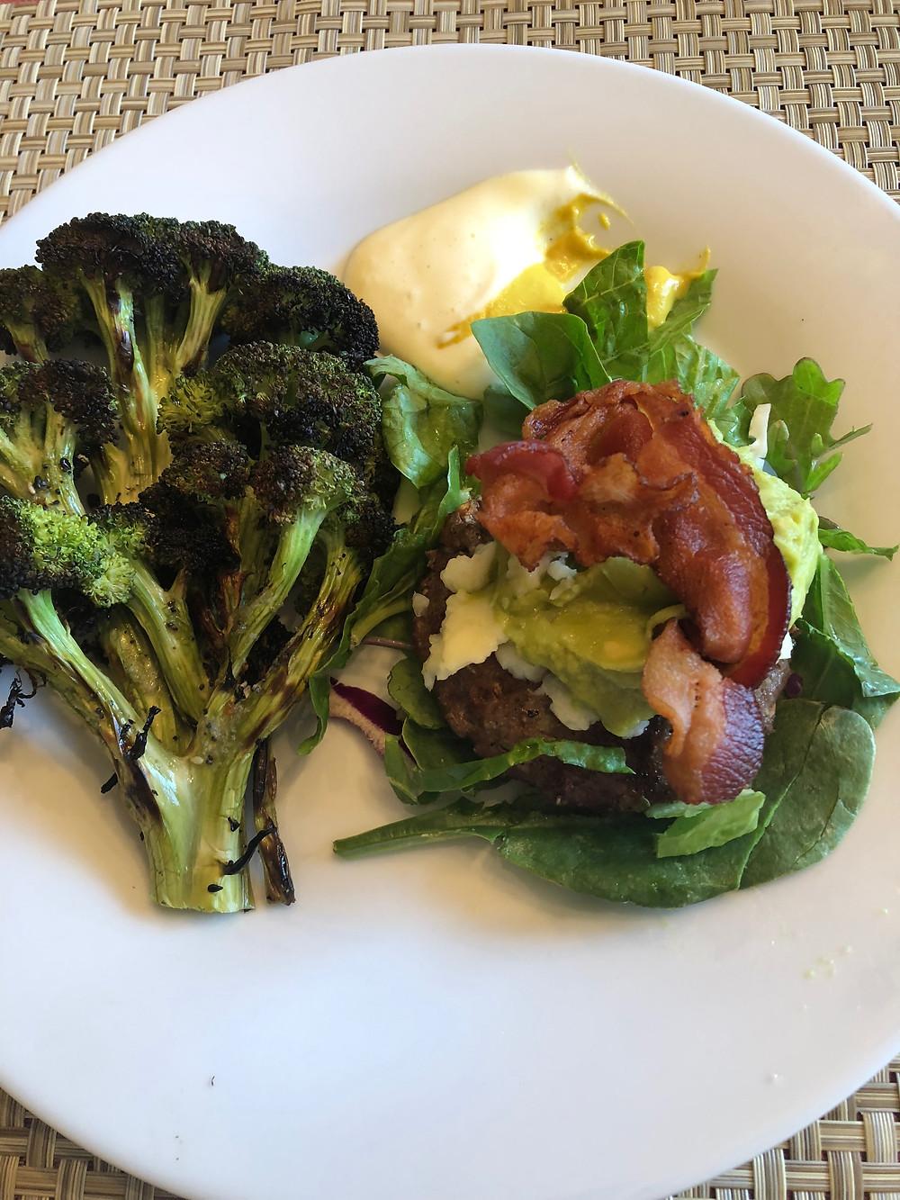 keto low carb hamburger bacon grilled broccoli mayonnaise avocado healthy grain free