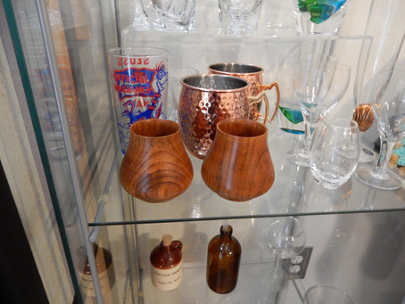 Wood whiskey glasses and more.