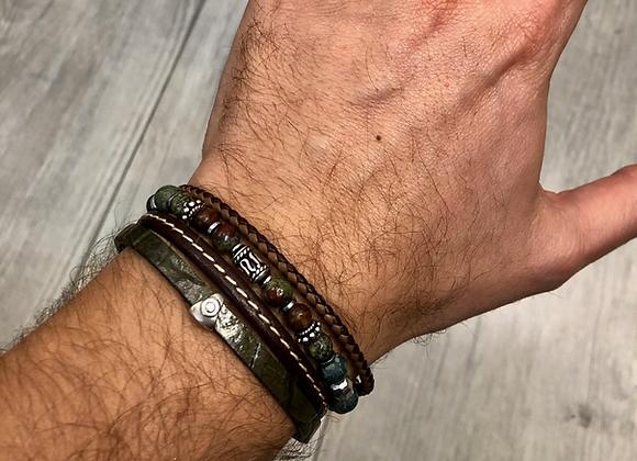 Composition bracelet perles et cuir ajustable