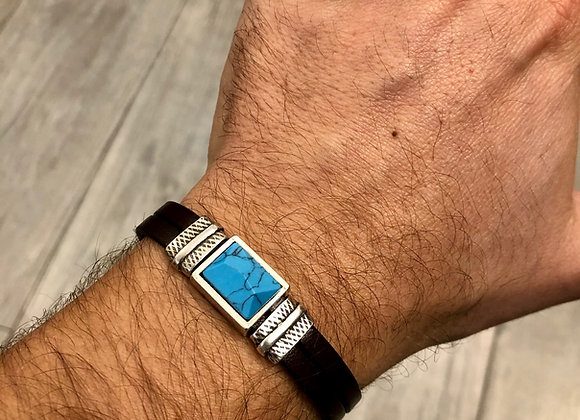 Bracelet cuir Howlite turquoise