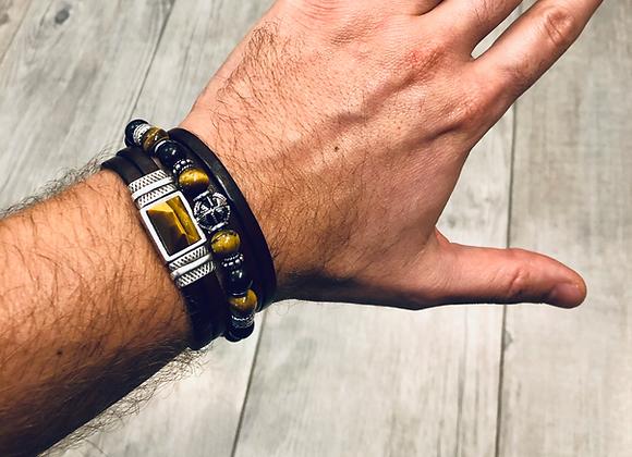 Composition bracelet perles et cuir